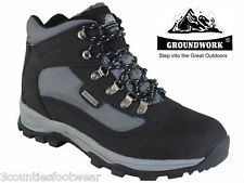 MENS WALKING BOOTS BLACK - Waterproof Gents Hiking Boots   CLEARANCE