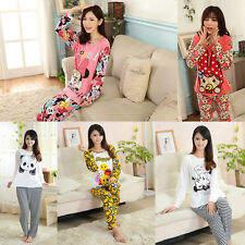 Cute Ladies Women Panda Mouse Bunny Long Top Trousers Set Pyjamas Pajamas