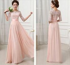 New Long Pink Bridesmaid Prom Gown Evening Formal Party Cocktail Prom Dress