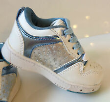 KIDS STAR LIGHT UP SHOES PASTRY GIRLS TRAINERS BLUE FLASHING PARTY GLITTER NEW