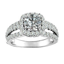 1.5 Carat White Round Diamond Solitaire Bridal Halo Engagement Ring White Gold