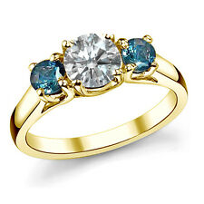 1 TCW White Blue Diamond Three Stone Solitaire Engagement Ring 14K Yellow Gold