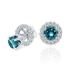 0.50 Carat Blue Diamond Solitaire Stud Earrings Halo Jackets 14K White Gold