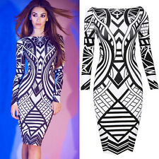 Women Sexy Elegant Long Sleeve Bodycon Pencil Dress Work Party Formal Clubwear