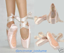 NEW Women's Girls Pink Satin Ballet Pointe Shoes Toe Shoes with Ribbon All Size