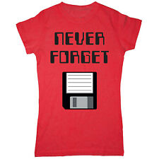 Never Forget with Floppy Disk Nerd Geek Humor Computer Funny Tee - Womens Top