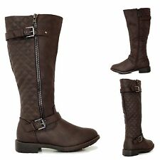 Womens Fashion Knee High Riding Boots Flat Heel Shoes Faux Leather Black Soon nb