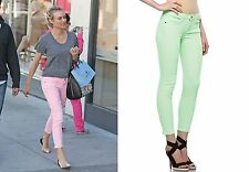 CURRENT/ELLIOTT Stiletto Crop Ankle Skinny Jean Day Glow Lime Green 23 30 31 NWT