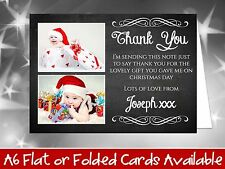 10 Personalised Christmas Greeting Cards Thank You Notes Chalkboard Add Photos