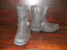 NEW MENS Leather UGG ROCKVILLE II Black Biker Work Boot Leather Insole All Sizes