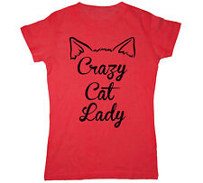 Crazy Cat Lady Funny Humor Cute Cat Ears Kitten Kitty Cool Tee - Womens T-Shirt