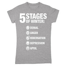 Five Stages Of Winter Denial Anger Hibernation Depression April Funny Womens Tee