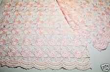 """Lily 51"""" Floral Tulle Embroidery Lace Net Fabric Double Scalloped 5 Colors"""