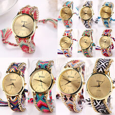 Women Geneva National Braid Bracelet Round Dial Wrist Analog Quartz Chain Watch