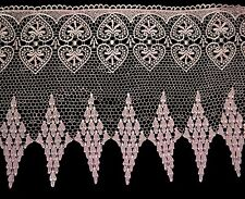 "Lily 16"" White Pink Blue Venice Lace Dangling Diamond Scalloped Edge by Yard"
