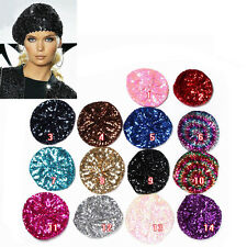 Women Lady Stretch Metallic Shining Sequin Beret Hat Party Stage Beanie Cap