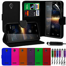 PU Leather Wallet Flip Case Cover & Film & Stylus Pen For Vodafone Smart 4 Turbo