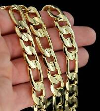 12MM 14Kt Finish Figaro Chain Link Solid Mens Necklace Hip Hop Bling