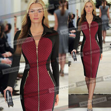 Womens Colorblock Zipper Business Casual Wear To Work Party Pencil Dress 169