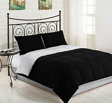 BLACK/WHITE - 3pc Reversible Down Alternative Comforter Set TWIN FULL/QUEEN KING