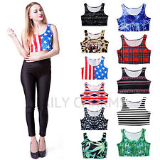 Women's Summer Fashion Short Sleeveless Crop Top Sexy Party Midriff Belly Shirt