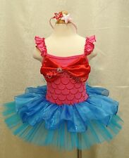 NWT Girls Ariel Mermaid Party Costume Leotard Ballet Dance Tutu Dress up 2T - 8
