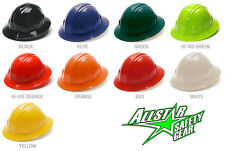 FULL BRIM HARD HAT RATCHET SUSPENSION WHITE BLACK BLUE RED YELLOW ORANGE GREEN