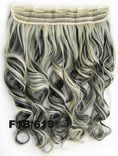 Long Wavy Curly Clip in Synthetic Human Hair Extensions One Piece 5 Clips 20""
