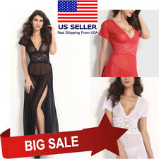 Sexy Sheer Lingerie Night Gown w/ Lace V Neck & Side Slit Skirt 2 Sizes 3 Colors