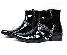 Mens punk casual cowboy zipper rock chukka  patent leather shorrt  ankle Boots