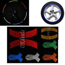 16 Strips Motorcycle Car Wheel Stickers Reflective Rim Stripe Tape DECAL IDXX