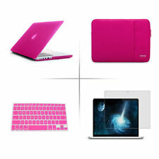 Hot pink Rubberized Hard Case+Keyboard Cover For Apple Mac Retina 13 Air 11 15