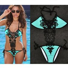 Women Crochet Lace Sexy one piece bikini monokini Swimsuit Swimwear S-XL
