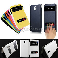 Slim Windows Smart S-View Flip Leather Case Battery Back Cover For Samsung Phone