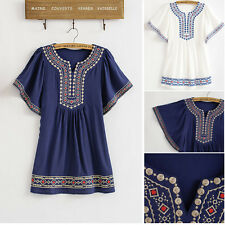 Women Ethnic Blouse Vintage Flower Embroidered Boho Hippie Shirt Top Free Sz