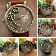 Fashion Womens Band Music Notation Analog Quartz Retro Casual Wrist Watch