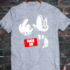 New Mens DOPE disney mickey mouse middle finger angry obey red grey T-Shirt