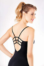 NEW! WOMENS BALLET CAMISOLE LEOTARD WITH A FANCY STRAPPY BACK. 4 COLORS (D356)