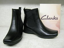 Women Clarks Lisbon Sky Black Leather Zip Up Casual Wedge Ankle Boots