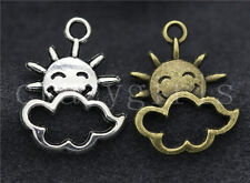 New 30pcs Antique Silver/Bronze Lovely smile sun Fit DIY Charms Pendant 21x16mm