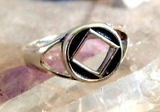 NA Narcotics Anonymous Service Symbol Square Ring 12-Step Recovery Silver