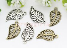 50pcs Antique Silver/Bronze maple leaf Fit DIY Making Charm Pendant 18x10mm