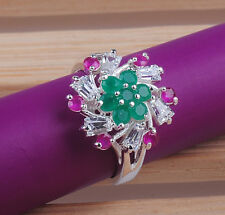Nice Round cut  ruby emerald gemstones  925 sterling silver ring size7 8 9  M200