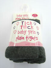 'Tick Tock' Baby Girls Plain Grey Tights.