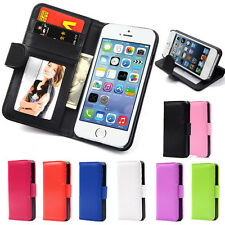 New Flip Wallet Cover Leather Case For Apple iPhone 4 5 5S Free Screen Protector
