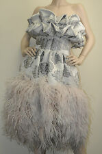 $27,930! New Alexander MQUEEN Grey w pink nude ostrich feathers Gown DRESS 40 4