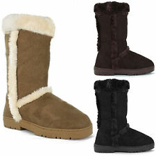 LADIES WOMENS FUR FLAT WARM THICK LINED WINTER BOOTS SOLE TALL RUBBER SHOES
