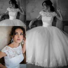 New 2015 Lace Ball Gown Wedding Dreses Bridal Gown White/Ivory SZ6+8+10+12+14+16