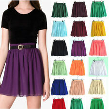 Girl Candy Color Double Layer Chiffon High Waist Short Pleated Mini Skirt Dress
