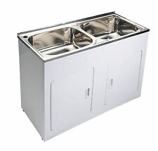New 45 Litre Double Stainless Steel Laundry Tub & Cabinet